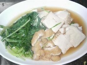 ♪簡単に水菜と豆腐と揚げの煮