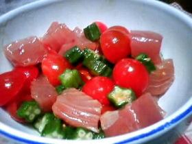 簡単☆マグロとオクラとプチトマトで和え物