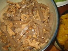 ねりゴマで濃厚レンコンこんにゃく炒め煮