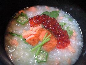 こんがり焼き鮭といくらの親子粥