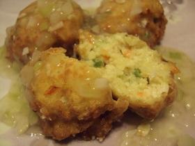 豆腐の揚げボールとシャキシャキねぎソース