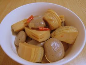 たけのことコンニャクの煮物(ピリ辛味)