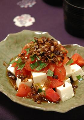 揚げネギで豆腐トマトサラダ