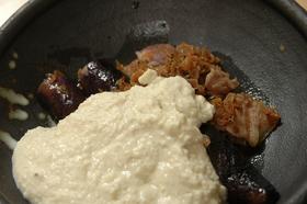 茄子と豚肉の焼きびたし☆わさび豆腐ソース