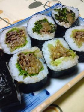 ちょこっとピリ辛☆焼肉巻き寿司♬