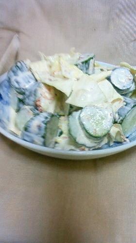 簡単にキャベツときゅうりのサラダ