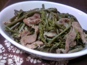 簡単☆わらびと豚肉炒め