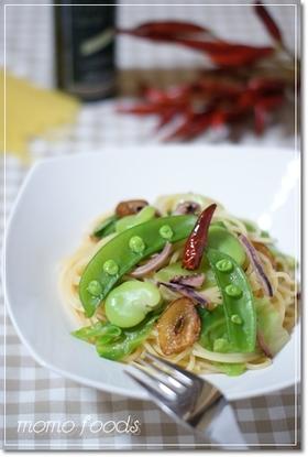 春野菜とイカ塩辛のオイルパスタ