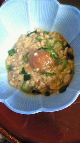 朝食!納豆+野菜