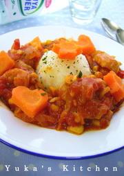 鶏肉とコーンのやわらかトマトサイダー煮の写真