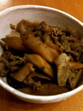 ごぼうと牛肉とこんにゃくの甘辛煮