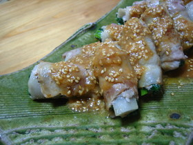 小松菜&牛蒡の豚バラ巻き☆酢味噌タレで!