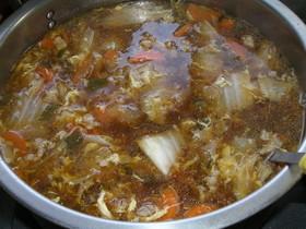 ゴマ薫る、ピリ辛スープ
