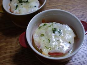 新玉葱とフレッシュトマトのチーズ焼き
