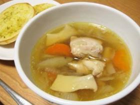 【圧力鍋】チキンと根菜の和風スープ