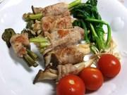 キノコと野菜(タラの芽付き)の豚肉巻きの写真