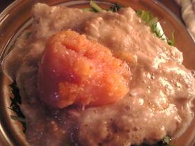 明太子と水菜と山芋の和え物