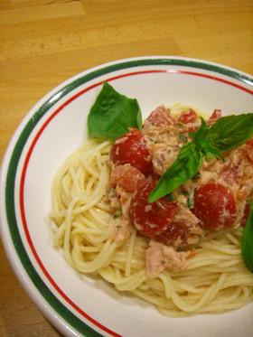 トマトとツナの混ぜるだけde冷製パスタ