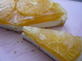 サイダーゼリーのオレンジレアチーズ