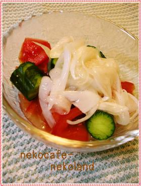 トマトと蛇腹きゅうりの玉ねぎドレッシング