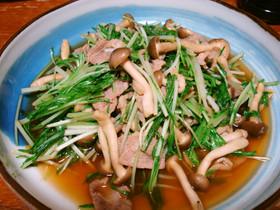水菜と豚肉炒め ポン酢だけバージョン♪
