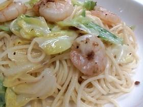 海老とキャベツのスパゲッティ