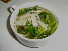 のらぼう菜ときのこのスープ