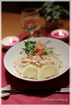 れんこんとイカ明太麺 レモンをかけて!