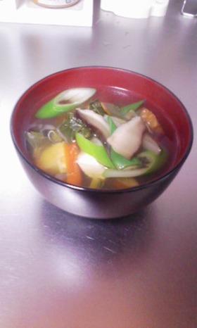 めんつゆと残り野菜で具だくさんスープ