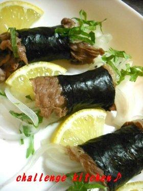新玉ねぎの海苔肉巻き