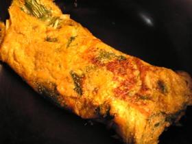 水菜と明太子の卵焼き
