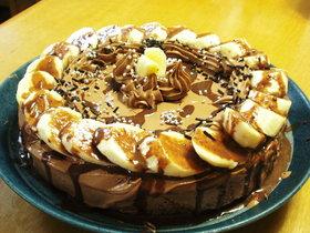 オーブン不要のチョコバナナケーキ ♪