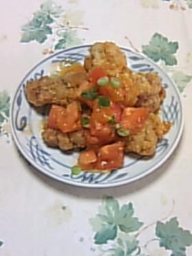 鶏のから揚げ あっさりトマトソースかけ