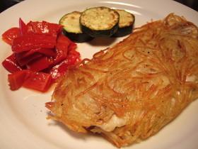 簡単、白身魚のハッシュドポテト包み焼き