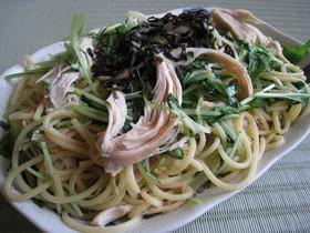 簡単鶏ささみと水菜の和風バター醤油パスタ