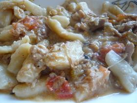 鶏のラグーソースの豆乳パスタ