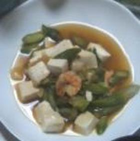 アスパラとエビと豆腐のネギだく煮☆