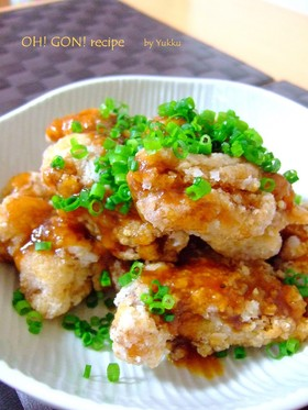 焼肉のタレで簡単♪鶏のから揚げ甘酢あん風