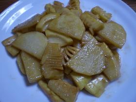 食感も楽しい!筍と長芋の麺つゆバター炒め