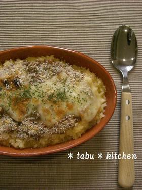 簡単ランチ★納豆と卵かけご飯のドリア風♫