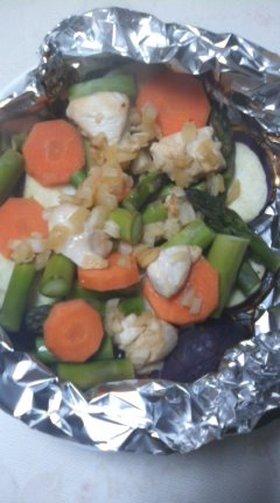 ヘルシー!野菜とササミのホイル焼き☆