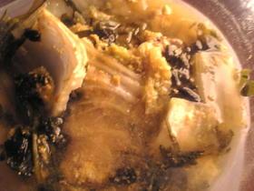 ブリの卵と白菜と春菊の生姜煮
