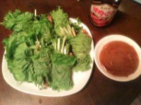 さっぱり野菜巻きこってり焼肉ソースで~