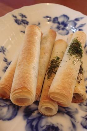 春巻きの皮で☆黒胡麻&青海苔さくさくパイ