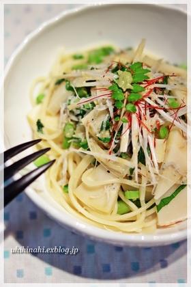 タケノコのわさび醤油スパゲティ