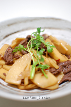 筍と牛肉の和風スタミナ炒め.。o○