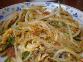 水菜ともやし、舞茸のトマト玉子炒め