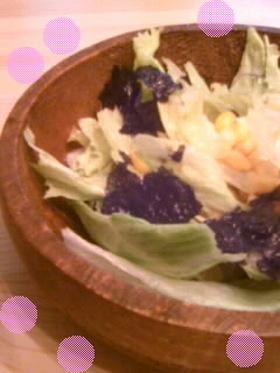 韓国海苔とコーンレタスのお酢サラダ