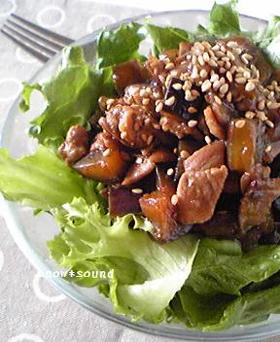 茄子と豚肉のおかずサラダ
