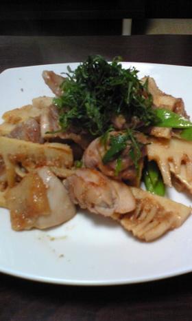 筍と鶏のごま味噌炒め